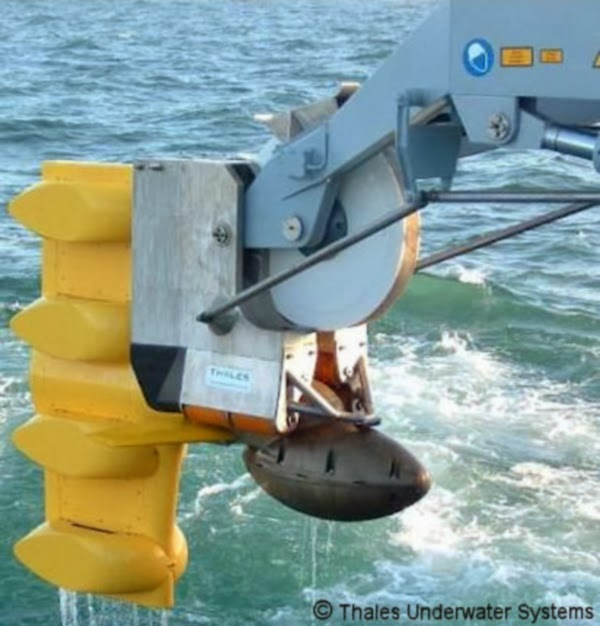 The Thales CAPTAS series of low frequency towed array sonars may be
