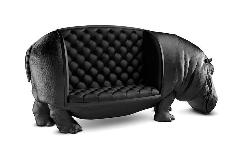Sillón Hipopótamo es el tamaño de un hipopótamo real