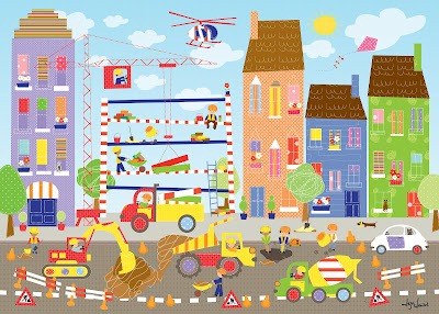A canvas art print from happy spaces showing a busy building site complete with cement mixer, diggers, trucks and cranes.