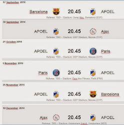 Το Ευρωπαϊκό πρόγραμμα του ΑΠΟΕΛ στο Champions League 2014