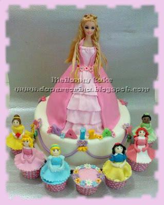 Kue Ulang Tahun Anak- Barbie Cake  & Princess Cup cake