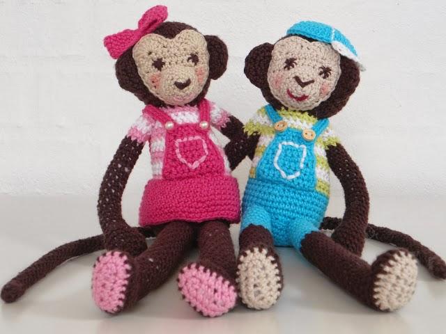 Opskrift på hæklede aber Albert og Alberte