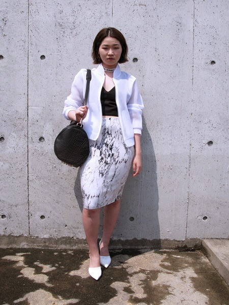 Zara 2014 Spring Marble Print Pencil Skirt