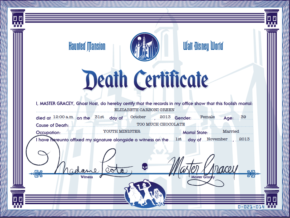 A Disney Moms Thoughts Haunted Mansion Death Certiifcate A