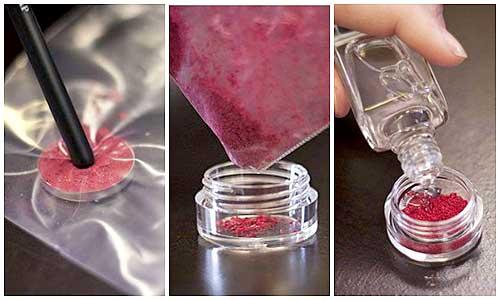 como hacer esmalte de uñas con sombras de ojos