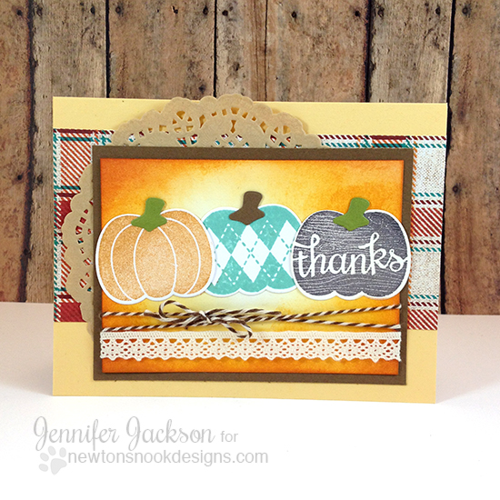 Fall Pumpkin Thank You Card by Jennifer Jackson | Pick-a-Pumpkin Stamp set by Newton's Nook Designs #newtonsnook #pumpkin