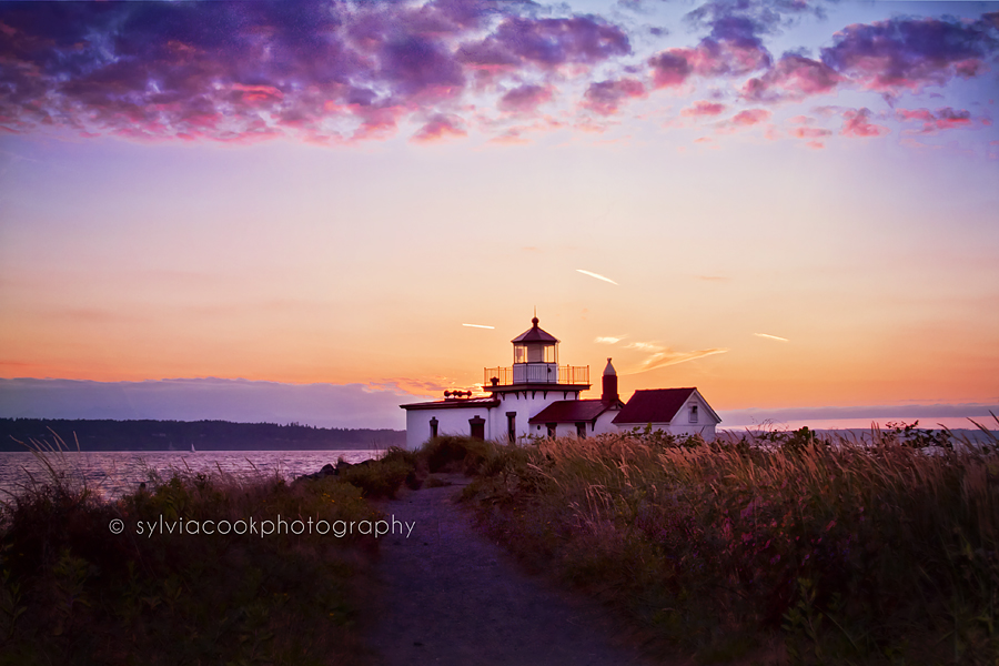 Discovery Park lighthouse at sunset Washington state