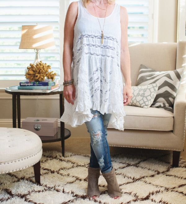 Fall Fashion - Free People Lace Trim Tunic + Distressed jeans