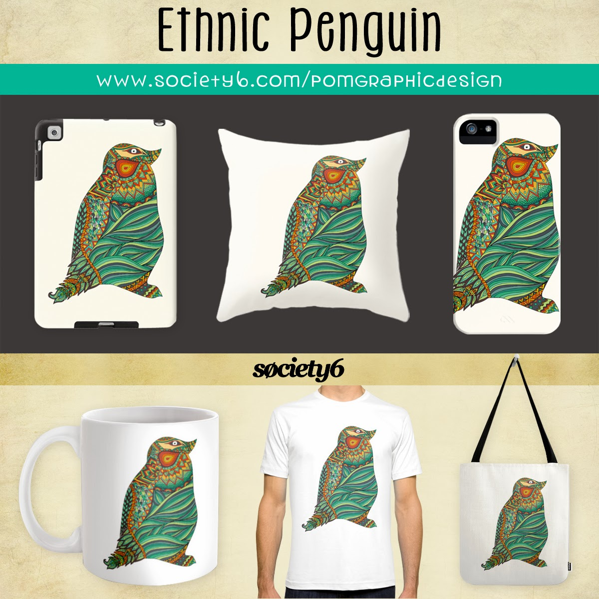 http://society6.com/pomgraphicdesign/Ethnic-Penguin_Print#1=45