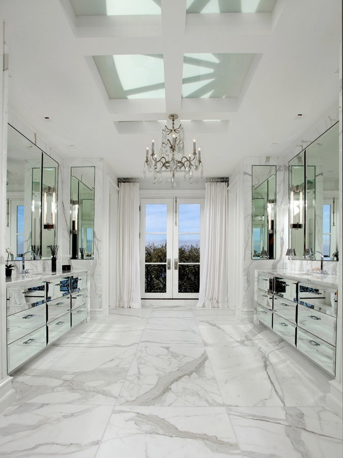 Comwhite Carrara Marble Bathroom : master+bathroom+marble+floor++bath+mirrored+cabinets+vanity+vanities ...