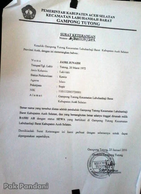 contoh surat keterangan status sewa rumah dari kepala desa
