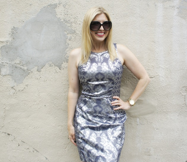 silver jacquard metallic dress, what to wear in boston, H&M in boston
