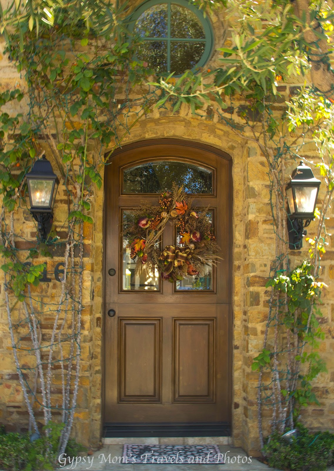 Fall wreath on front door on house on Balboa Island