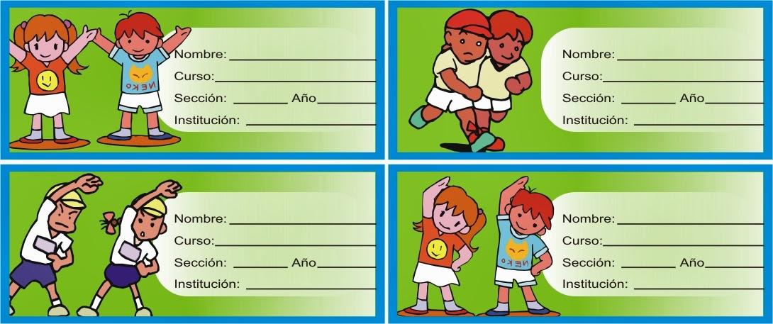 etiquetas de niños haciendo gimnasia o gym para pegar en los libros y cuadernos