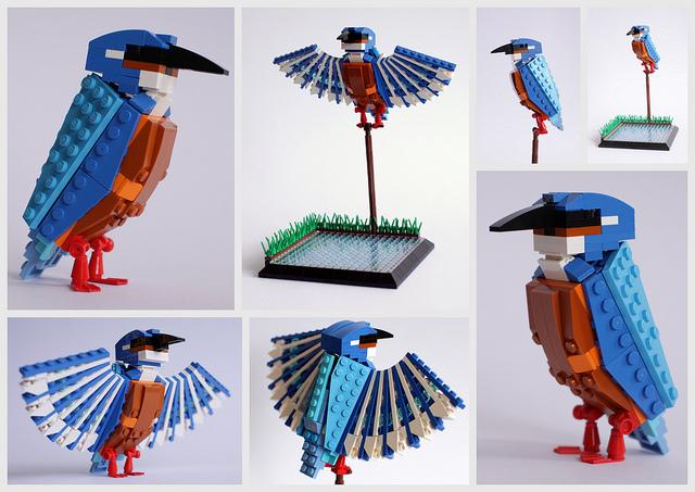 pajaros de Lego. martin pescador. Kingfisher