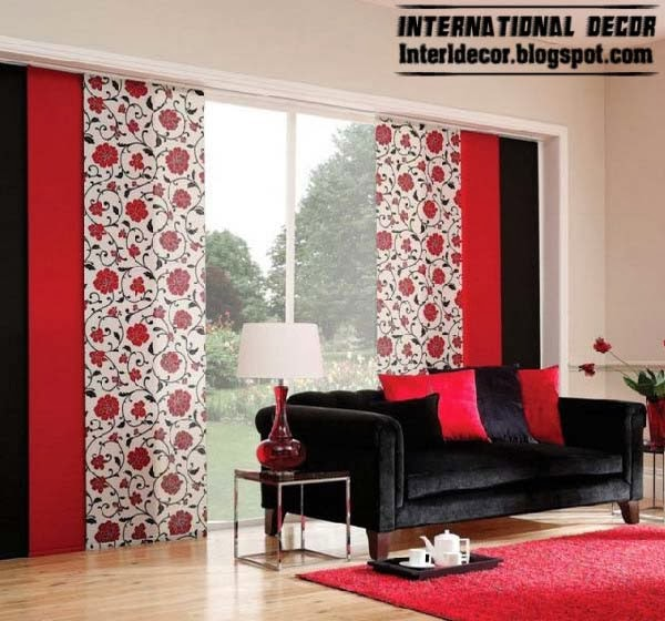 Trendy Japanese Curtain Red And Black For Interior Door