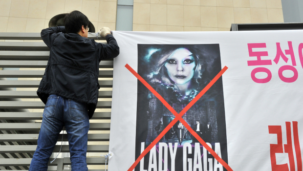 Koreans protesting Lady Gaga's concert at Olympic Stadium in Seoul, South Korea.
