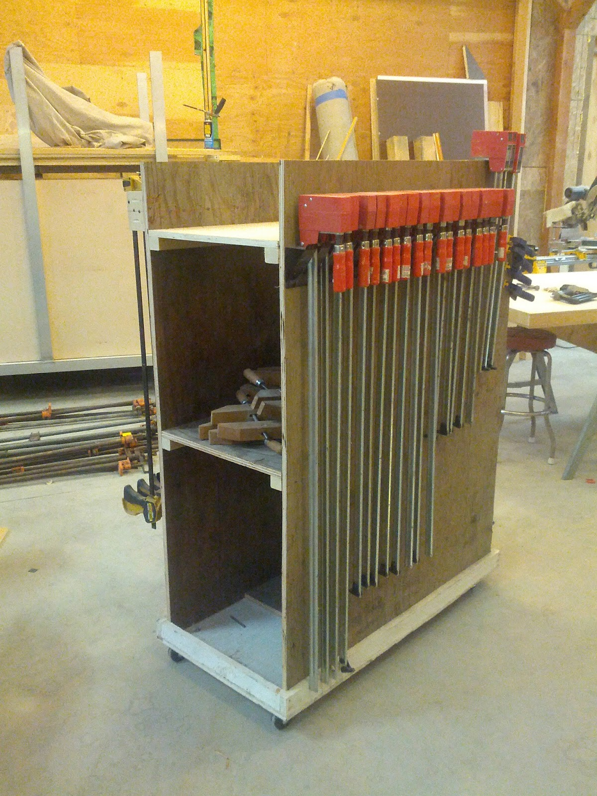 A View Of The Clamp Rack Showing The Side, Base, Half Shelf And Shelf.