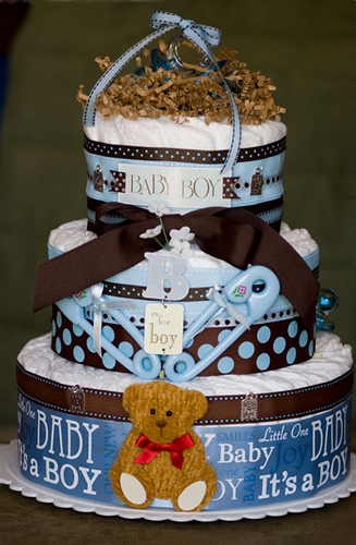 Frugal Baby Shower Fun - Make A Diaper Cake!