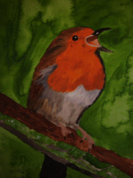 robin redbreast singing painting