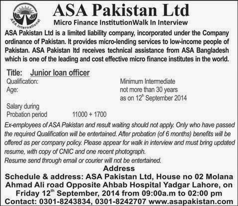 Required Junior Loan Officer in ASA Pakistan Limited, Lahore