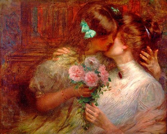 pintura de mulheres se beijando