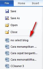 Cara cepat membuka Recent Document