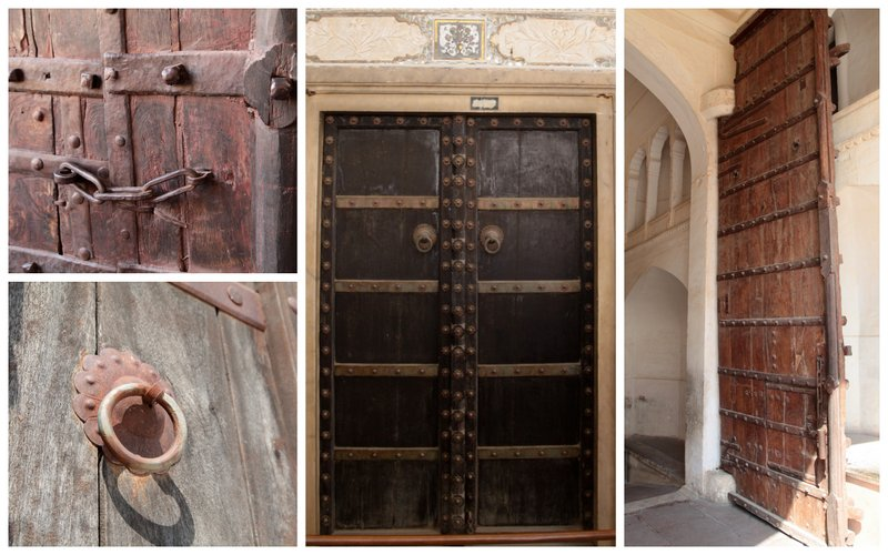 Marvelous Sleeper Wood Doors That Look Pretty Since They Have Been Contrasted With  Gold Bolts And Handles