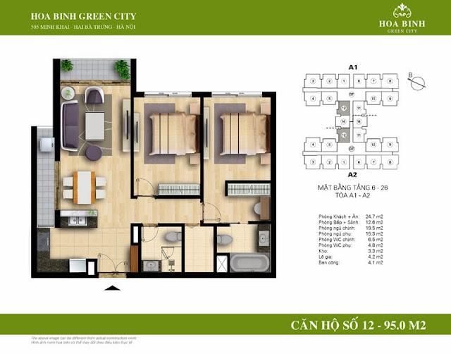 chung cư Hòa Bình Green City Căn hộ số 12 dt 95m2