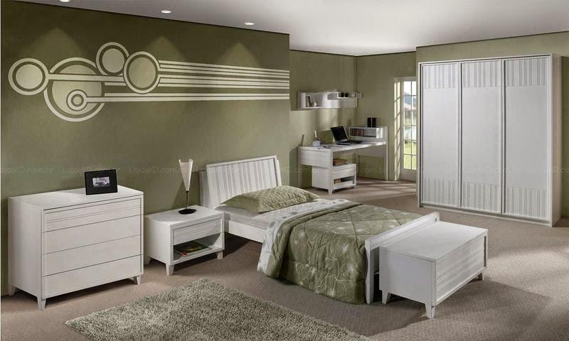 Ideias Decoração Decoração de quartos com papel de parede ~ Quarto Solteiro Com Papel De Parede