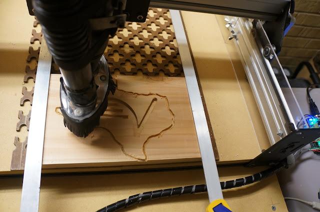 flying v magnet being milled on Shapeoko 2 CNC machine