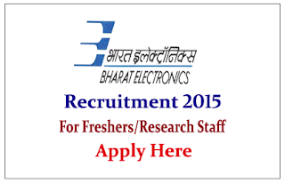 Bharat Electronics Limited Recruitment 2015 Software Professionals