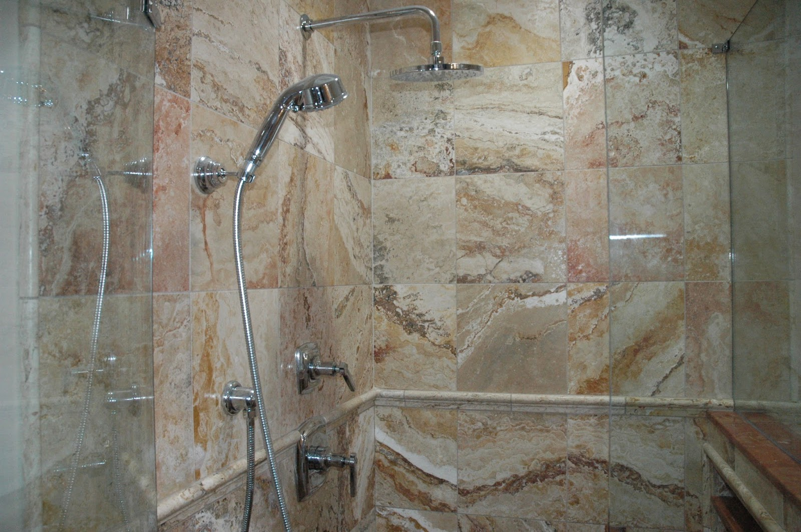 Custom bathroom remodeling 12x12 travertinetile for 12x12 floor tile designs