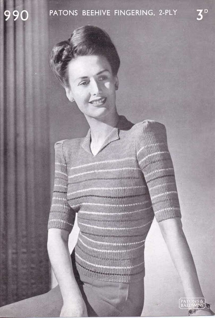The Vintage Pattern Files: Free 1940's Knitting Pattern - Womens Striped Blouse Patons No.990