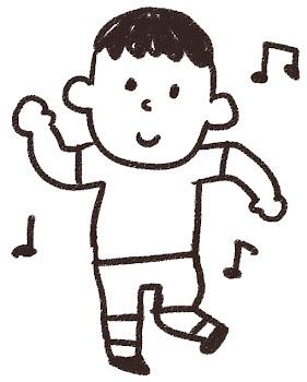 ダンスのイラスト「踊っている男の子」 白黒線画