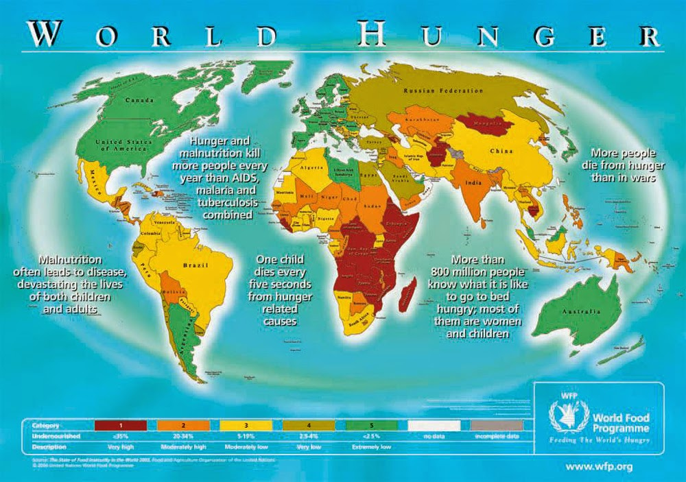 The world hunger map that shows how we will cope with man made disasters.