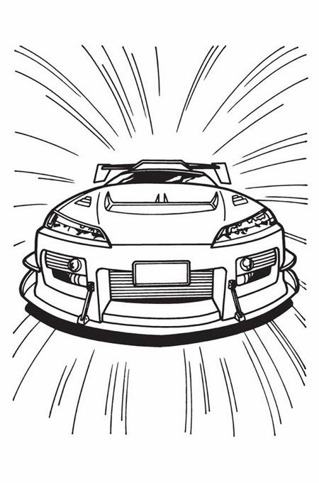 تسير سيارة بسرعة كبيرة جدا وتظهر من الواجهة الأمامية للتلوين