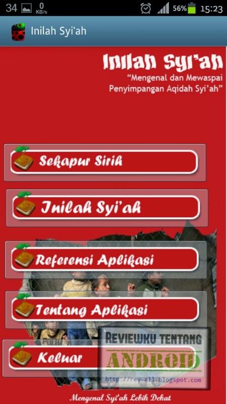 Tampilan utama aplikasi Inilah syiah versi 1.0 - aplikasi android untuk mengenal hakikat syiah dan mengetahui keadaannya di indonesia (ulasan oleh rev-all.blogspot.com)