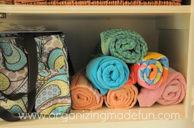Linen closet towels rolled