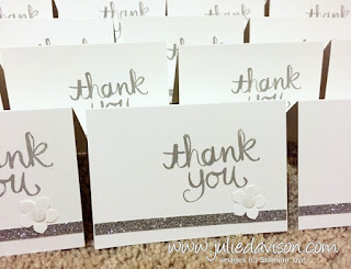 DIY Simple Wedding Thank You Cards with Stampin' Up! Watercolor Thank You stamp #stampinup #wedding www.juliedavison.com