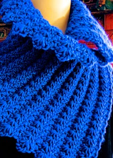 Starlooper Crochet Star Stitch Scarf with fewer rows makes a nice overlapping neckwarmer