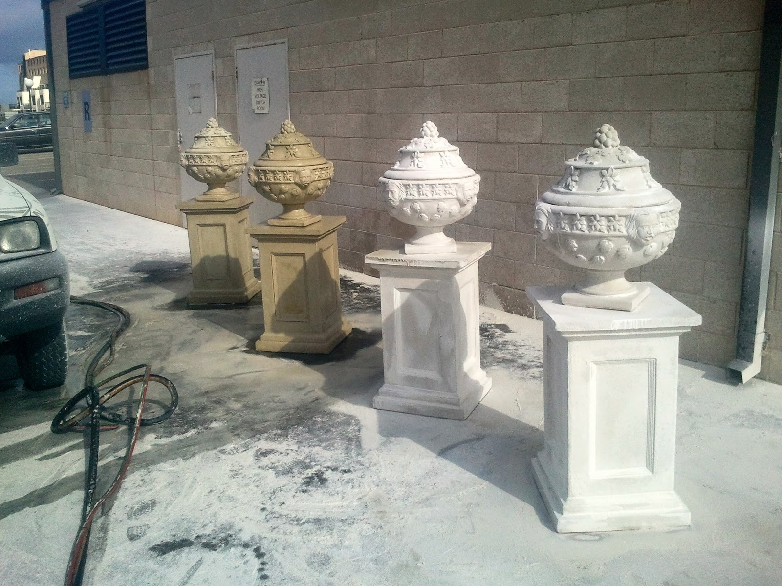 Architectural concrete and garden statuary are brought back to life through abrasive blasting