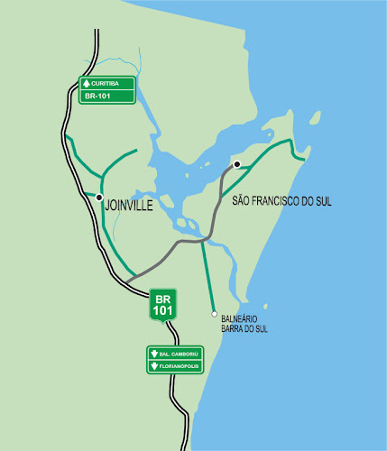 Mapa de acessos a São Francisco do Sul