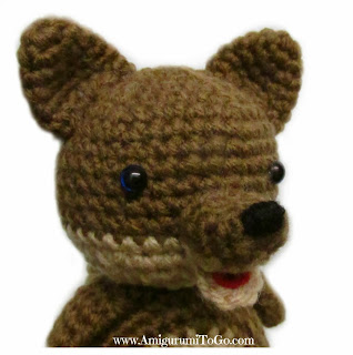 brown crochet wolf