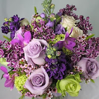 margarita green and bellflower purple colored wedding bouquet