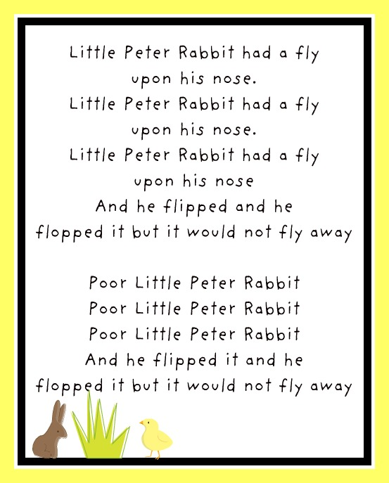 The little peter rabbit song is set to the tune of