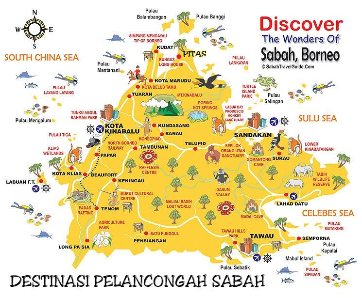 Peta pelancongan tempat-tempat menarik di Sabah