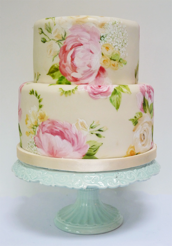 Amelies House Painted Peony Wedding Cake - Peony Wedding Cake