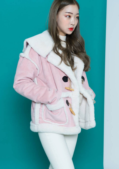 Pink Faux Lined Duffle Jacket