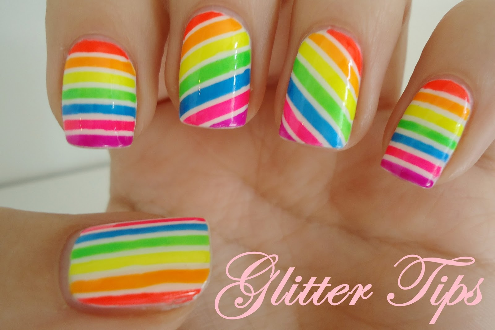 Glitter tips neon candy stripes nail art neon candy stripes nail art prinsesfo Image collections